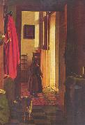Pieter de Hooch Mutter an der Wiege, Detail oil painting reproduction