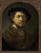 Bust of a man wearing a cap and a gold chain., REMBRANDT Harmenszoon van Rijn