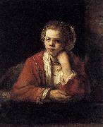 REMBRANDT Harmenszoon van Rijn Girl at a Window oil painting reproduction