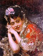 Raimundo Madrazo Model Aline Masson with a White Mantilla oil painting on canvas