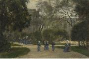 Stanislas lepine Nuns and Schoolgirls in the Tuileries Gardens oil painting reproduction