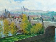Stanislav Feikl View of Prague Castle over the Charles Bridge by Czech painter Stanislav Feikl oil painting