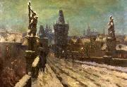 Stanislav Feikl Painting Winter on the Charles bridge oil painting