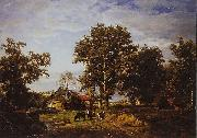 Theodore Fourmois Landscape with farm oil painting