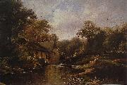 Theodore Fourmois Watermill in the Ardennes with angler oil painting