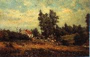 Theodore Fourmois Landscape with farms oil painting