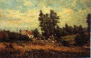 Theodore Fourmois Landscape with farms oil painting on canvas