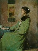 Thomas Dewing Portrait of a Lady Holding a Rose oil painting on canvas