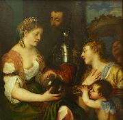 Titian Conjugal allegory  Louvre oil painting on canvas