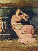 Vaclav Brozik A Seated Lady oil painting