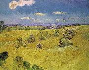 Wheat Stacks with Reaper, Vincent Van Gogh