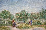 Verliefde paartjes in het park Voyer d'Argenson te Asnieres, 1887 Courting couples in the Voyer d'Argenson park in Asnieres, Vincent Van Gogh