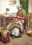 Walter Langley,RI Old Quilt oil painting