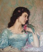 Weerts Jean Joseph Beautiful pensive portrait of a young woman with a bird and flower oil painting