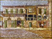 William Woodward Old Absinthe House, corner of Bourbon and Bienville Streets, New Orleans. oil painting