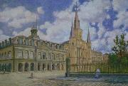 William Woodward Painting of view of Jackson Square French Quarter of New Orleans, oil painting