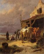 Wouterus Verschuur Draught horses resting at the beach oil painting