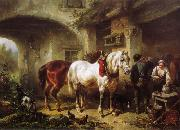 Horses and people in a courtyard