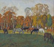 A landscape with horses,, unknow artist