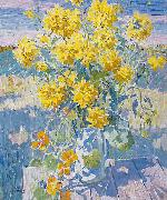 unknow artist September Yellow flowers oil painting on canvas