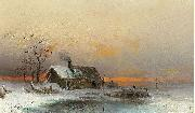 wilhelm von gegerfelt Winter picture with cabin at a river oil painting