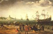 The painting Coastal Landscape with Ships, Adam Willaerts