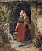 A young wine grower and her children, Adolph Heinrich Richter