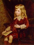 Portrait of a young boy in a red velvet suit, Alfred Edward Emslie