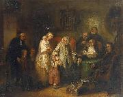 Young widow and four children at the opening of the last will