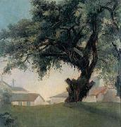 Giant tree and barracks, Anonymous