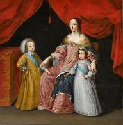Anonymous Anna of Austria with her children oil painting reproduction
