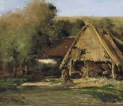 Antoine Vollon Een schuur in een landschap met bomen. oil painting reproduction
