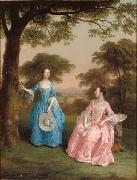 Double Portrait of Alicia and Jane Clarke in a Wooden Landscape