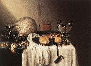 BOELEMA DE STOMME, Maerten Still-Life with a Bearded Man Crock and a Nautilus Shell oil painting on canvas