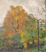 Bernhard Folkestad Deciduous trees in fall suit with cuts oil painting on canvas