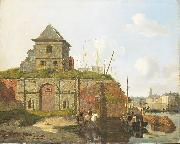 Carel Jacobus Behr Town wall with gunpowder arsenal oil painting artist