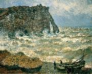 Claude Monet Stormy Sea in Etretat oil painting reproduction