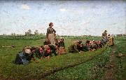 E.Claus Flaxweeding in Flanders oil painting artist