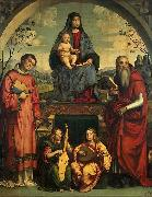 Francesco Francia Madonna and Child with Sts Lawrence and Jerome oil painting on canvas