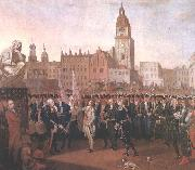 Kosciuszko taking the oath at the Cracow Market Square.