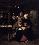 Gabriel Metsu Portrait of the Artist with His Wife Isabella de Wolff in a Tavern oil painting