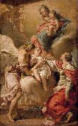 Gandolfi,Gaetano St Giustina and the Guardian Angel Commending the Soul of an Infant to the Madonna and Child oil painting artist