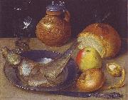 Still life with herring und Bartmann jug, Georg Flegel