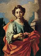 Giacomo Cestaro A female Saint holding a plate of roses oil painting on canvas