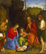 Giovanni Agostino da Lodi Adoration of the Shepherds. oil painting on canvas