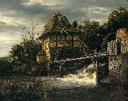 Jacob Isaacksz. van Ruisdael Two Undershot Watermills with Men Opening a Sluice oil painting reproduction