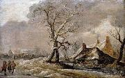 Jan van Goyen Winter Landscape with Farmhouses along a Ditch. oil painting
