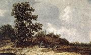 Jan van Goyen Cottages with Haystack by a Muddy Track. oil painting