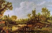 Jan van Goyen River Landscape with a Ferry oil painting