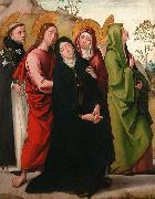 The Virgin, Saint John the Evangelist, two female saints and Saint Dominic de Guzman.
